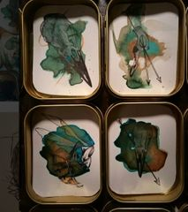 Many original pieces will be for sale on the night, small designs in tobacco tins.