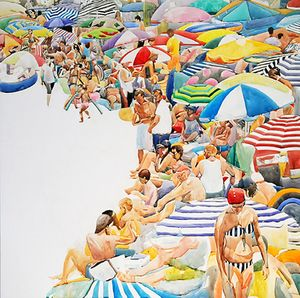 Annabelle Shelton 'Beach Tide' Watercolour on aluminium 100cm x 100cm