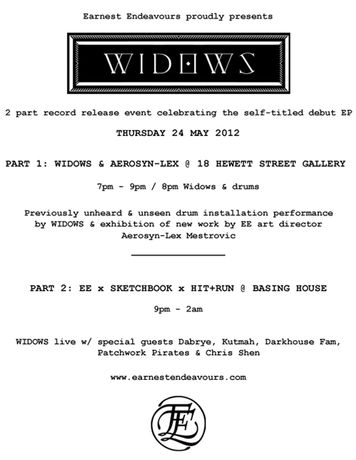 Earnest Endeavours presents: Widows (NYC/LA) live at 18 Hewett Street: Image 0
