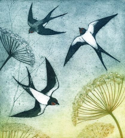 'Summer Swallows' Collagraph by Kerry Buck