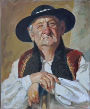 'Shepherd' - Janusz Szpyt. oil on canvas
