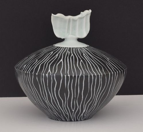 Tim Andrews, Porcelain lidded curling piece -  linear decoration and celadon
