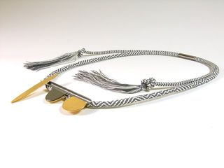 Hendrike Barz-Meltzer, Adjustable necklace, grey & white Kumihimo braid with gold and rhodium plated front piece