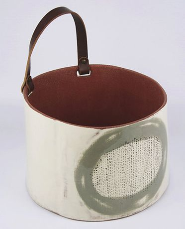 Silvia K, glazed terracotta vessel with leather handle, W 28 cm x H 30 cm