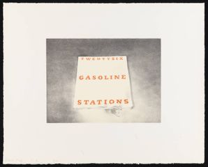 ED RUSCHA Twentysix Gasoline Stations, 1970 Lithograph on white Arches paper 16 × 20 inches (40.6 × 50.8 cm) Edition of 30 © Ed Ruscha. Courtesy Gagosian Gallery.