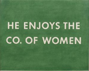 Ed Ruscha, He Enjoys the Co. of Women, 1976, pastel on paper, 22 1/2 × 28 1/2 inches (57.2 × 72.4 cm) © Ed Ruscha.