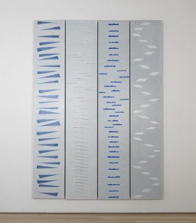 Edda Renouf Air Sounds (quadriptych) (1981 - 2016)  acrylic on linen; removed and reapplied thread