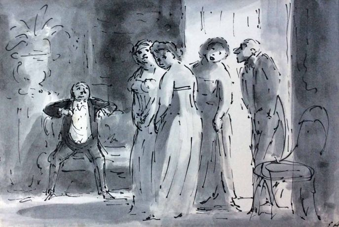 The Arrival of the Ladies - The Mayor's Party, pen, ink and watercolour
