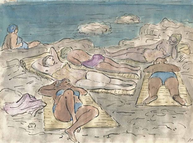Bathers at the Seaside, ink and watercolour