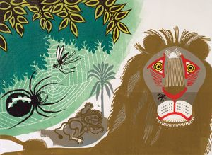 Edward Bawden, [Aesop's Fables] Gnat and Lion, 1970, Colour linocut on paper, Trustees of the Cecil Higgins Art Gallery (The Higgins Bedford), © Estate of Edward Bawden