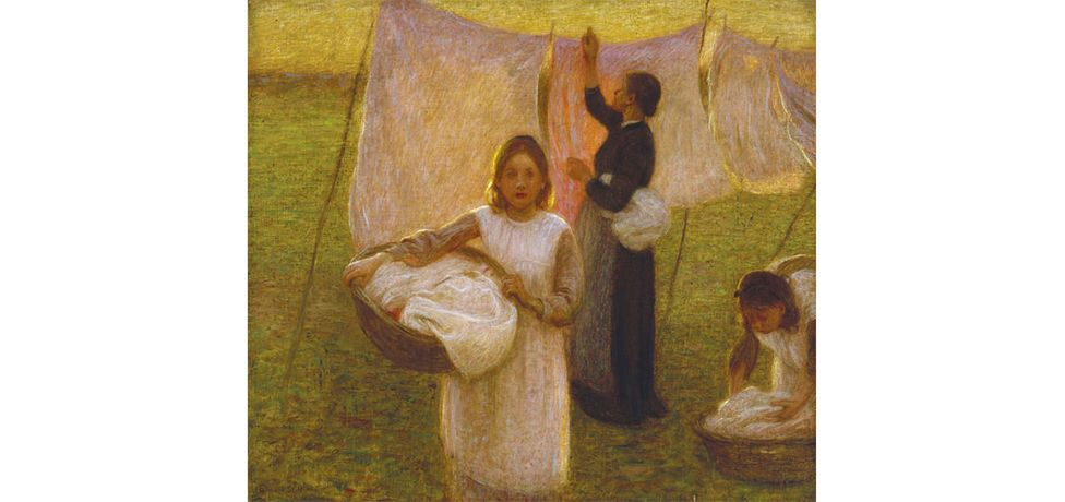 Edward Stott (1859-1918), Washing Day, 1899, Oil on canvas. Watts Gallery Trust. Above: Edward Stott, The Bird Cage, c. 1875.