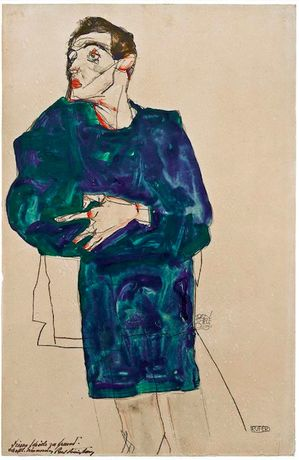 Egon Schiele. The caller, 1913. Watercolor, gouache and pencil on paper. 48 x 31 cm. Callimanopulos Collection