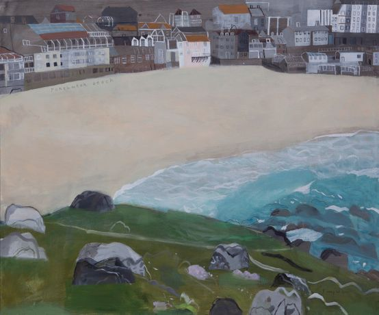 Porthmeor Beach, Mixed media on canvas 100 x 120 cm