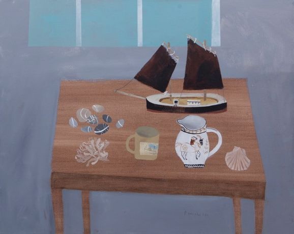 Still Life, St Ives, Mixed media on canvas 80 x 100 cm