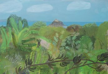 St Michael's Mount over Tremenheere Tropical Gardens mixed media on wooden panel 70 x 100 cm