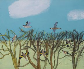 Goldfinches in the Hedge, Gog Magog Hills - mixed media on canvas 50 x 50 cm
