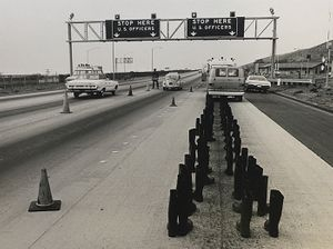 Eleanor Antin. 100 Boots at the Checkpoint. 1972   Photo © Eleanor Antin