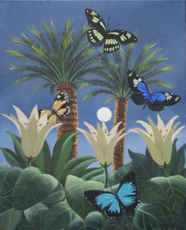 Flutter in the Jungle, oil on canvas, 20x16ins.
