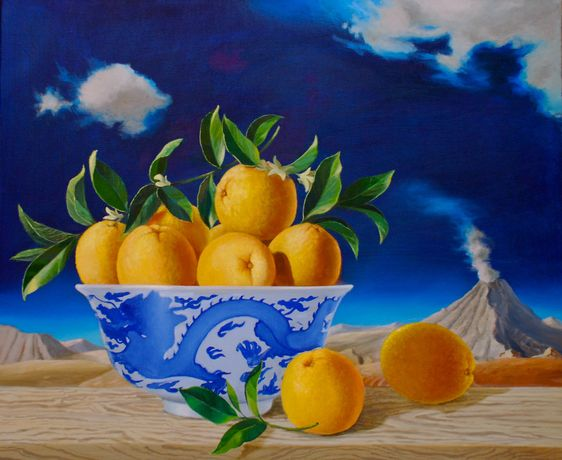 Oranges in a Chines Bowl, oil on canvas, 18x24ins.