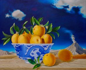 Oranges in Chinese Bowl