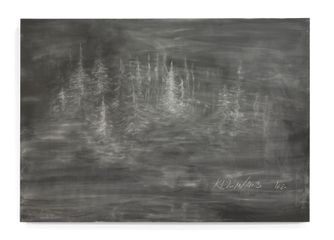 Ella Littwitz, No Place, Good Place (detail of diptych), 2017, chalk on blackboard, 105 x 150cm Courtesy of the artist and Copperfield, London