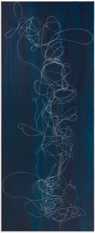 Elliott Puckette, Rachis, 2018, gesso, kaolin and ink on board, 72 x 30 inches, 182.9 x 76.2 cm. Courtesy of the artist and Paul Kasmin Gallery