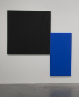 Installation view of Ellsworth Kelly, Black Square with Blue 1970 on display at Tate Modern © Tate Photography, 2014