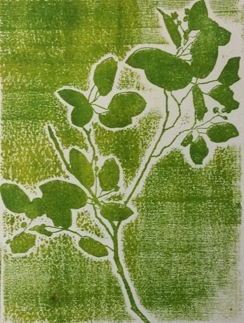 Birch Leaves, Laser-cut lino print, Marion Campbell