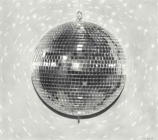 Disco Ball 2016 charcoal on paper 34 x 30 inches
