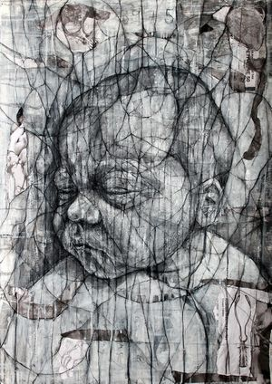David Marron, Fentanyl Dreams, 2012-14, Charcoal, acrylic and collage on paper, 84 x 59cm