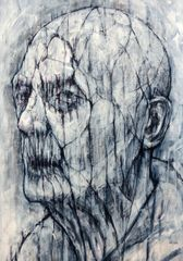 David Marron, Geras 3, 2013, charcoal and acrylic on board, 60 x 42cm