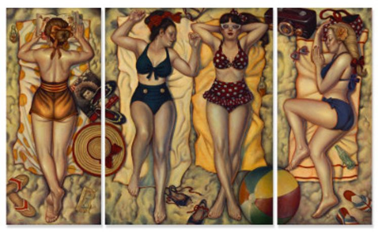 Danny Galieote, Summertime Bliss  Triptych, Oil on Canvas, 60 x 98 inches