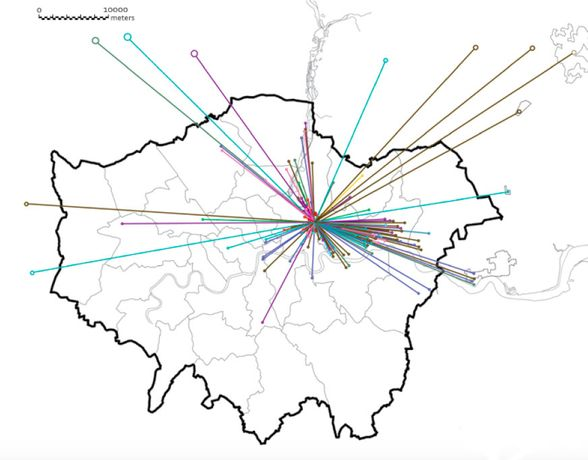 Relocations of former business occupants on the Olympic site across London and beyond, 2007.