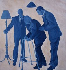 'Consultants Share a Joke with a Small Investor'  Oil on Canvas  183 x 183cm