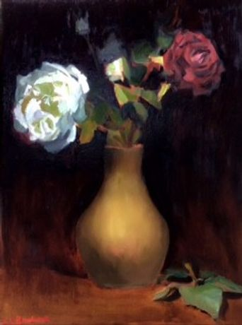 English flower paintings. Semi abstract landscape paintings: Image 1