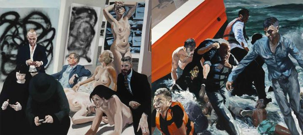Eric Fischl Rift/Raft, 2016 oil on linen 98 x 220 inches (248.9 x 558.8 cm.)