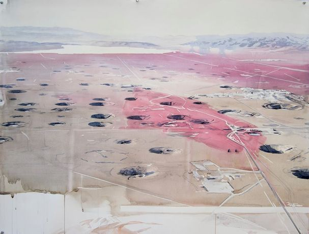 Yucca Flat with Blood Red Brushstrokes, 2016, Watercolor on Paper, 50 × 38 inches