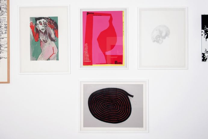 Screen prints by Lydie Arickx, Frédérique Lucien, Christine Crozat, Jean Zuber.