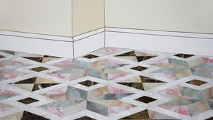 Erin Hughes,  'Room Me' (detail), 2018. MDF, emulsion, decorative laminate, wall paper, silicon, 600 x 400 x 6mm