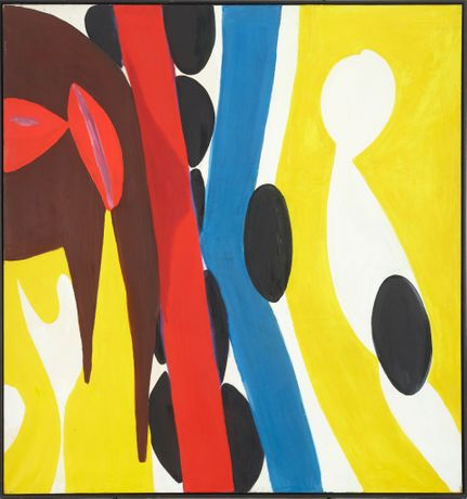 Ernst Wilhelm Nay, Geteilt durch Rot und Blau, 1967, Oil on canvas, 200 x 190 cm / 78 3/4 x 74 3/4 inches