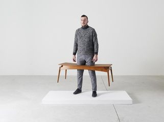 ERWIN WURM Deep Snow, One Minute Sculpture, 2016 instruction drawing, Baker Copenhagen bench, realized by public