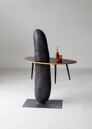Erwin Wurm, Bar, 2019, bronze, wood, glass, steel, 182 x 140 x 60 cm, unique