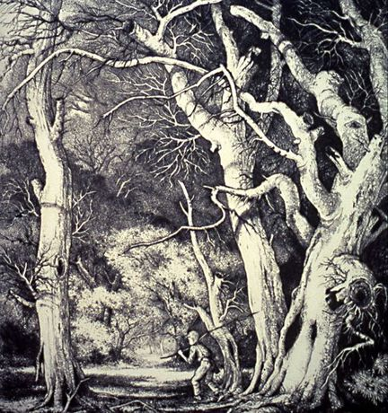 Mildred Bryant Brooks, Witch Trees (detail) , c.1935, etching