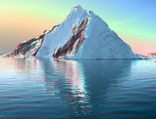 Greenland by Ethel Davies, photographically-based stereoscopic 3D image