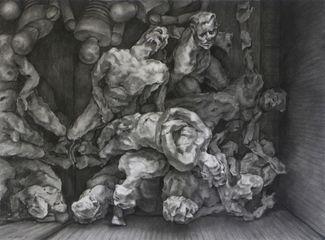 Untitled - Pile up by Gary William Myatt, charcoal on paper 1,372mm x 1,016 mm