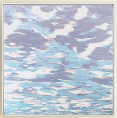 Eve Stockton, Clouds var. 38, 2016, woodcut print with colored inks on paper, 36 x 36 inches (unframed), edition 1/1 (monotype), $3450. (mounted on dibond with UV matte coating and framed)