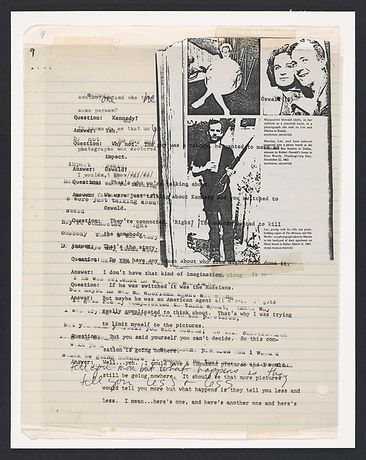 Lutz Bacher (American, born 1943). The Lee Harvey Oswald Interview (detail), 1976. Collage in 18 parts, 11 x 8 ½ in. (27.9 x 21.6 cm) each. The Metropolitan Museum of Art, New York, Purchase, The Horace W. Goldsmith Foundation Gift, through Joyce and Robert Menschel and Anonymous Gift, 1999. Courtesy of the artist and Greene Naftali, New York (1999.387e)