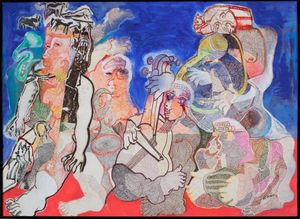 Mohan Samant, Musicians, 1999  Watercolour on paper, 55.9 x 76.2 cm.  Private collection, New York, NY