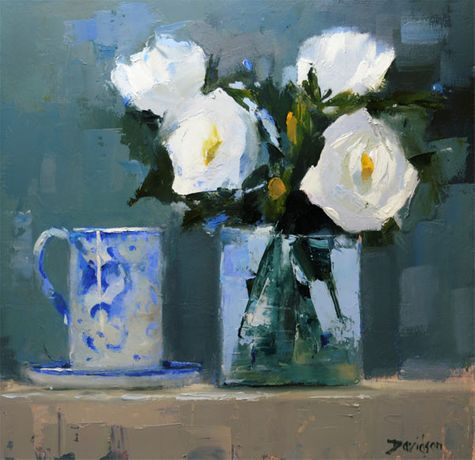 Mary Davidson Roses & Blue China Oil on board 12 x 12 inches