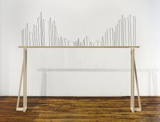 Richard Ibghy & Marilou Lemmens, Income Inequality in the United States (1910-2010), 2016, Wood, ink and string, 74 × 20 × 11/4 in. (187.96 × 50.8 × 3.17 cm). Photo by Martin Parsekian.